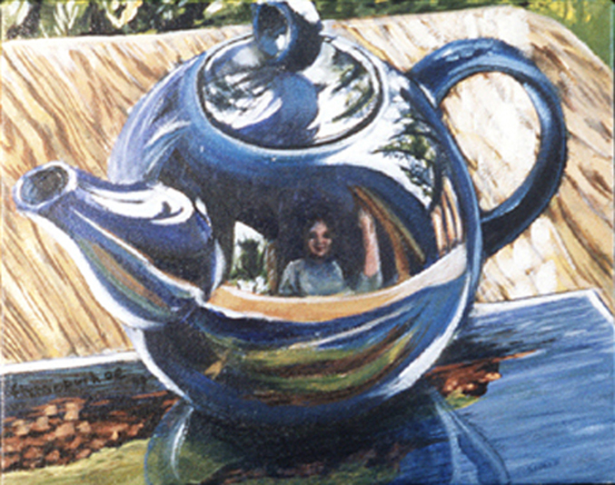 Blue Teapot with Red Cliffs