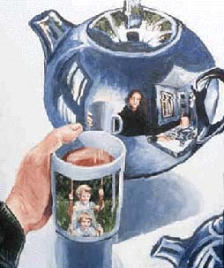Blue Teapot with Sisters